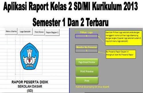 Aplikasi Raport Kelas 2 SD/MI Kurikulum 2013 Semester 1 Dan 2 Terbaru