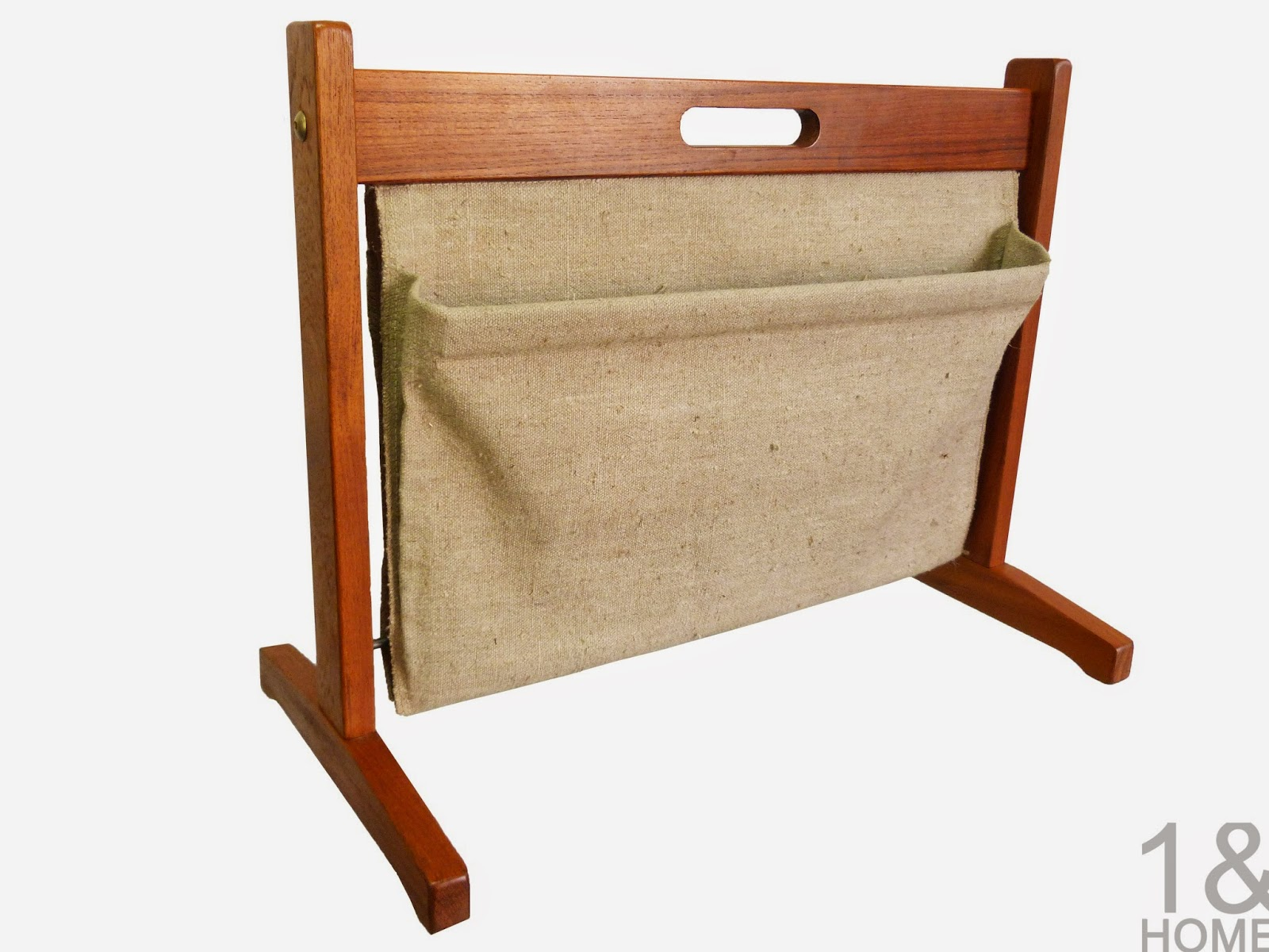 Danish Modern teak two sided magazine rack by Brdr Furbo  Denmark