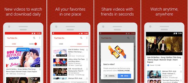 برنامج وتطبيق YouTube Go لمشاهدة فيديوهات اليوتيوب بدون اتصال انترنت حفظ فيديوهات اليوتيوب ومشاهدتها بدون انترنت , ومشاهدة الفيديوهات في الاتصال البطئ وتقليل استهلاك البيانات .