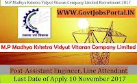 Madhya Pradesh Madhya Kshetra Vidyut Vitaran Company Limited Recruitment 2017– 216 Assistant Engineer, Line Attendant