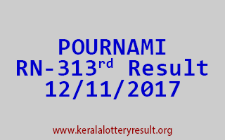 POURNAMI Lottery RN 313 Results 12-11-2017