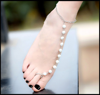 anklet Silver And Pearls