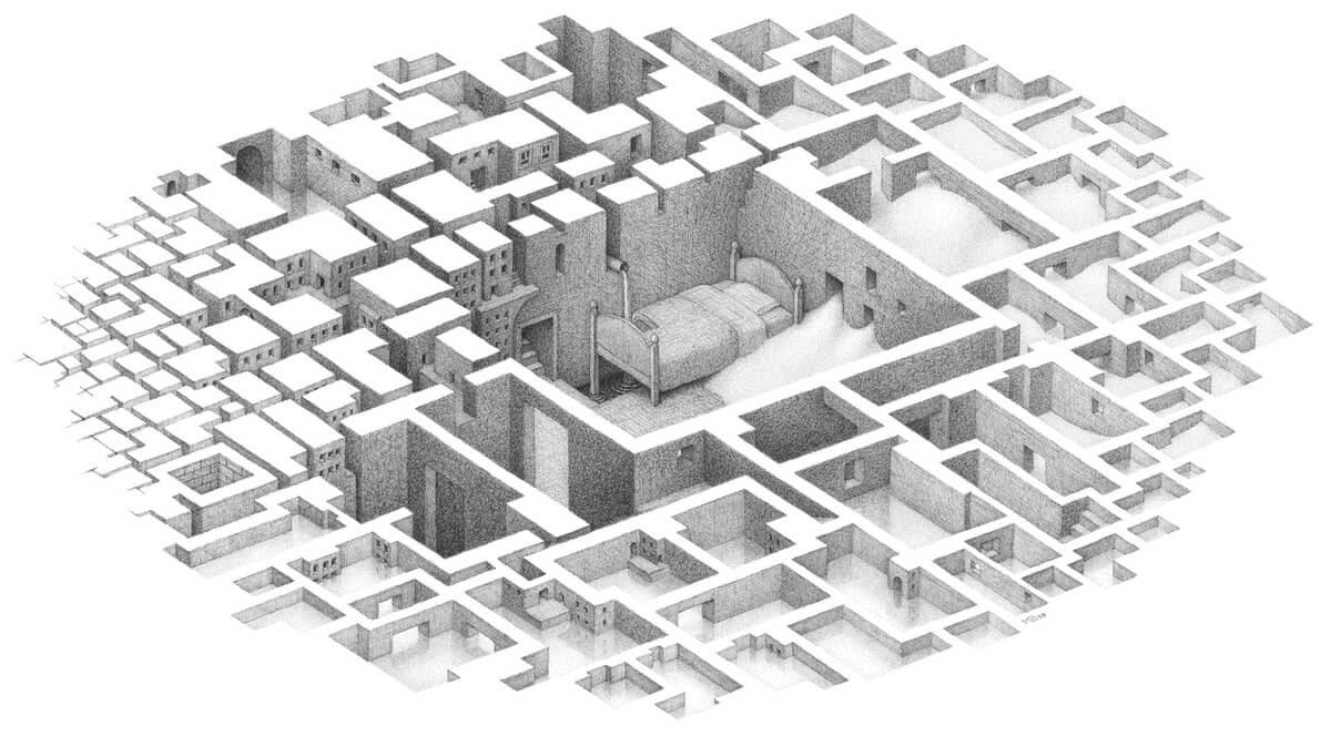 03-Sleeping-Window-Matt-Borrett-Hiding-in-a-Safe-Architectural-Labyrinth-Drawing-www-designstack-co