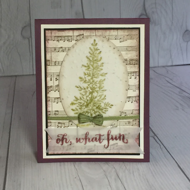 Handmade Christmas Card with Sheet Music background Stamp