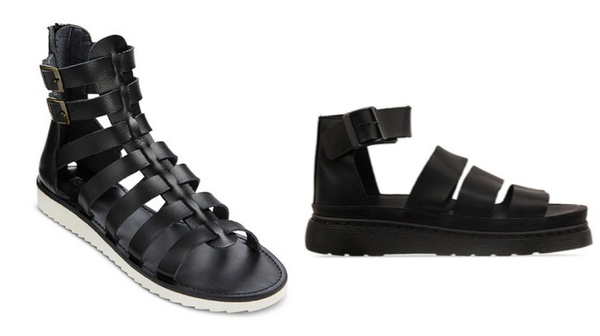 246c9f96a38e Left  Claudia Gladiator Sandal from Target in Black ( 29.99) Right   Clarissa in black leather from Dr. Martens ( 109.95)