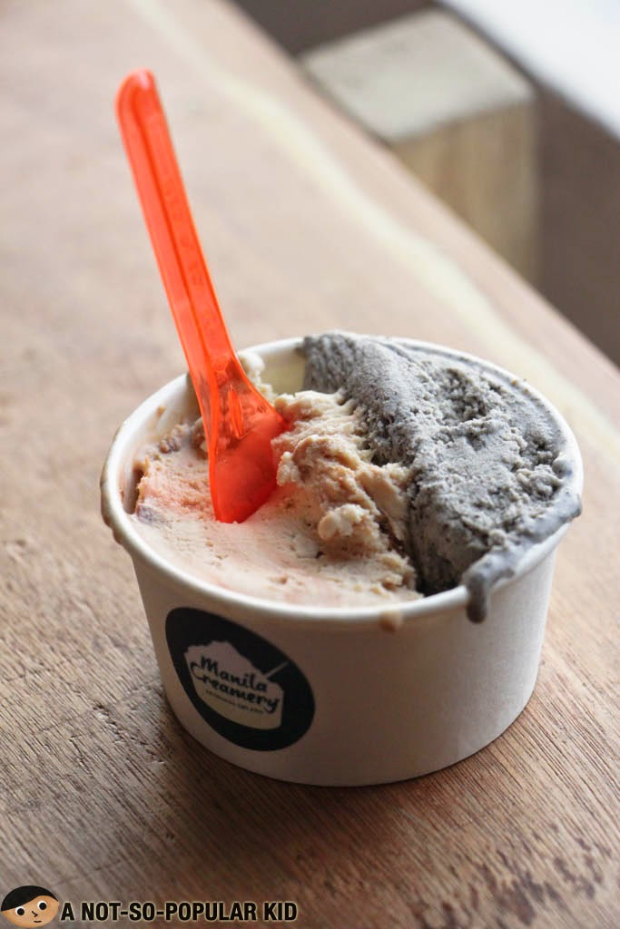 Cereal Milk (Cornflakes and Cornflakes Cookie) and Black Sesame Gelato
