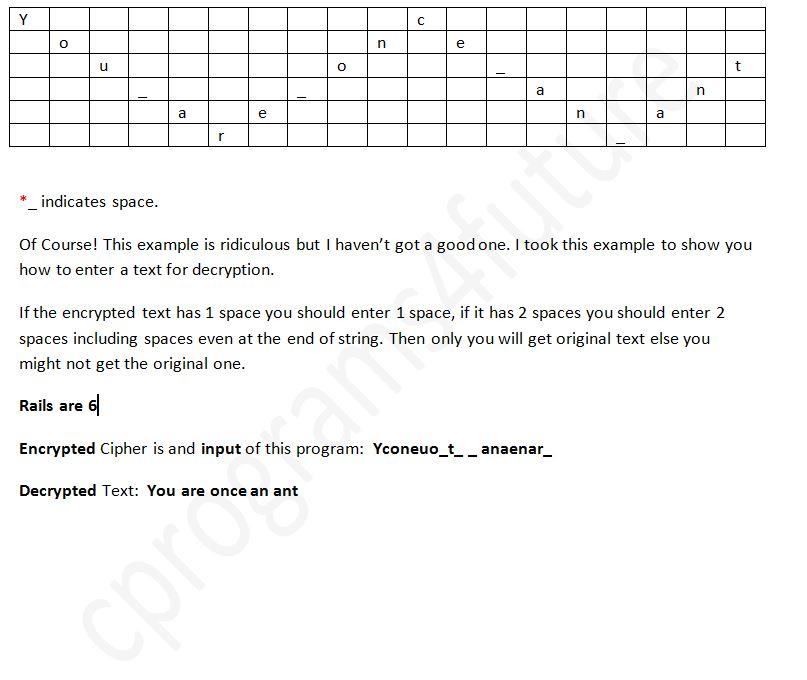 All C Programs: Program 223:Decryption of Rail Fence Cipher using C