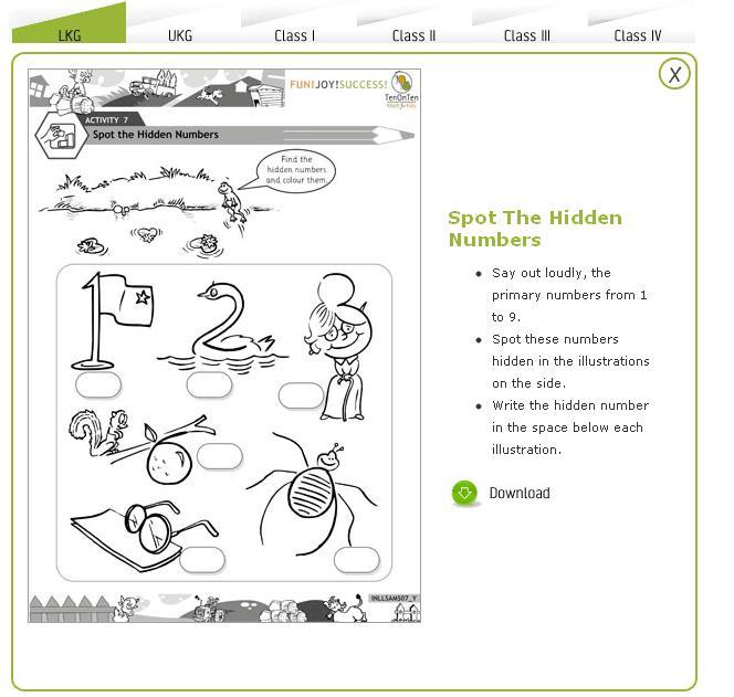 Free Math Worksheets Kindergarten 2 Spot The Hidden Numbers And