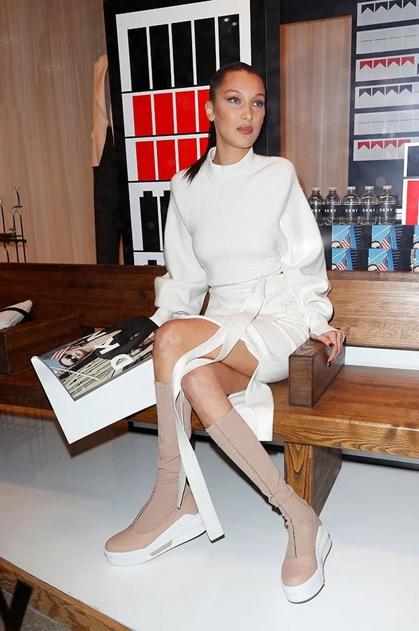 Bella Hadid attends the DKNY event in Soho on Feb. 1, 2017
