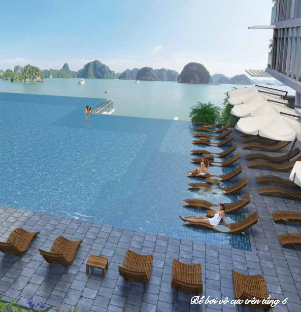 Bể bơi vô cực view biển tại chung cư Mon Bay