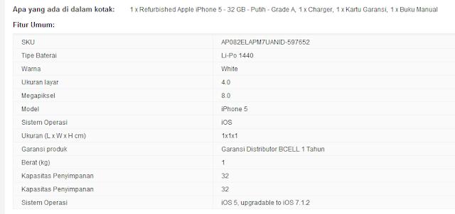 Harga dan spesifikasi apple iphone 5 32gb