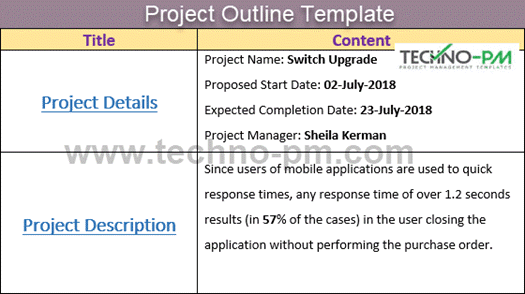 Project Outline Template, Project outline example