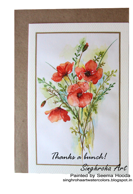 Poppies Bouquet Watercolor Card