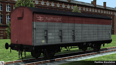 Fastline Simulation: This work weary ventilator fitted version is carrying faded Railfreight flame red and grey livery which seems almost an odd mixture with the ventilator on the end harking back to the steam age.