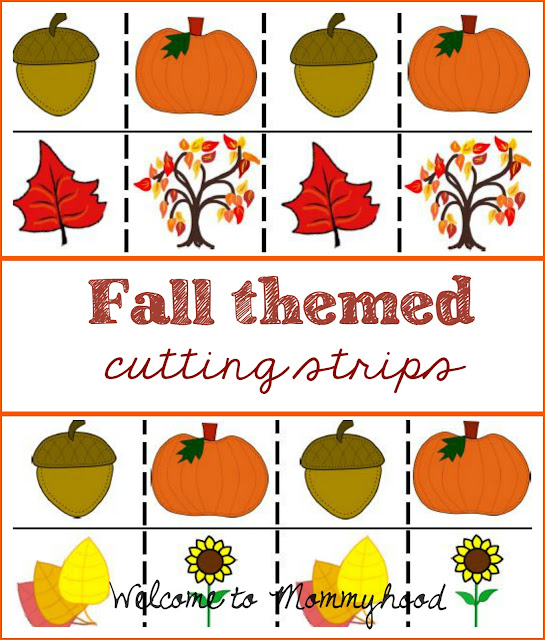 Montessori inspired fall themed cutting strips by Welcome to Mommyhood #montessori, #montessoriactivities, #preschoolactivities, #cuttingpractice