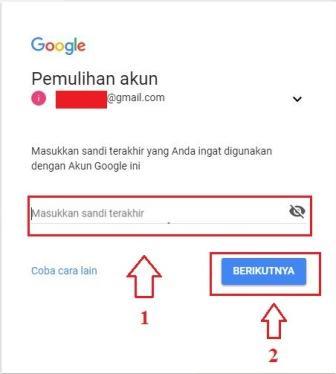 Tampilan laman pemulihan akun Google