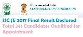 SSC JE 2017 Final Result Declared | Total 341 Candidates Qualified for Appointment