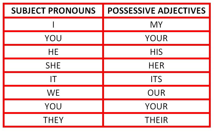 pronoun and pronouns possessive pronouns