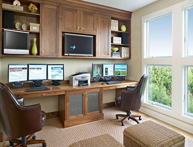best custom home office two sided desk sets with file cabinets
