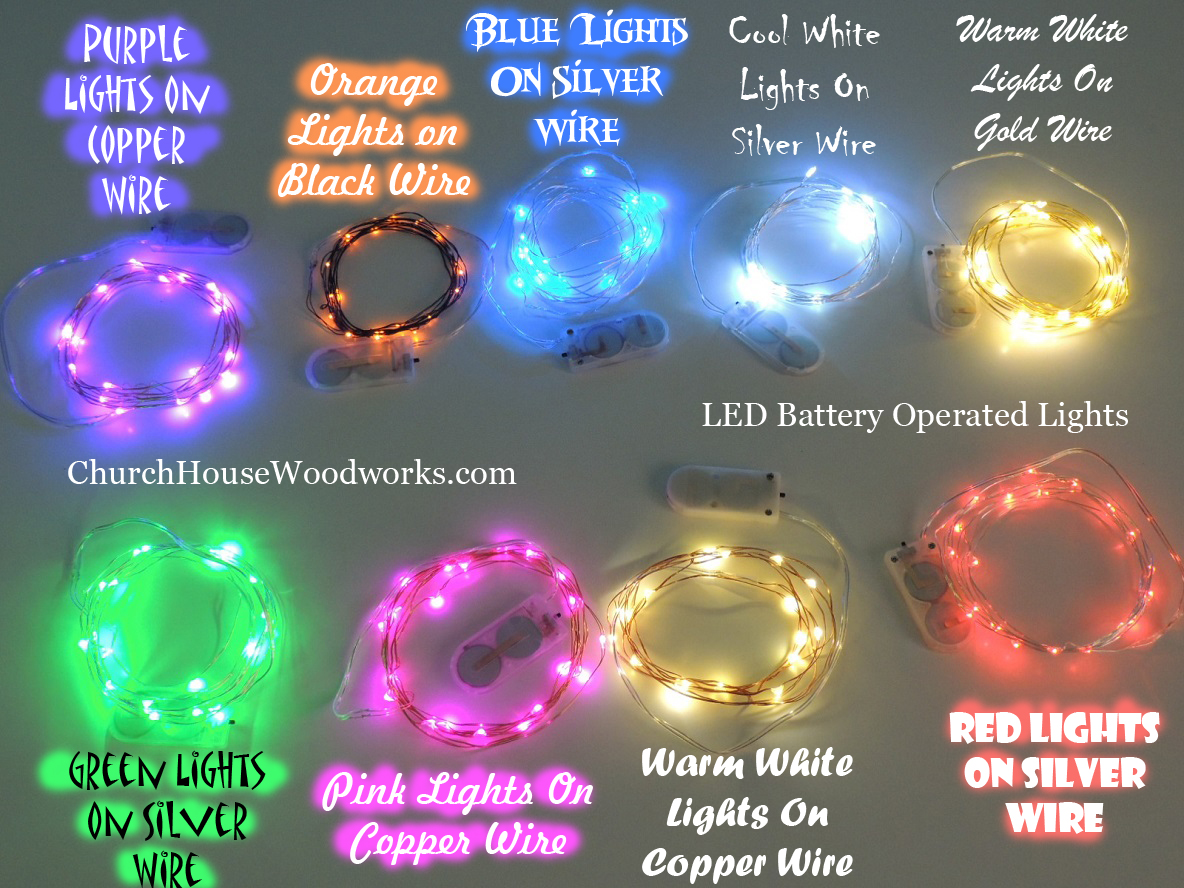 Led Fairy Lights Battery Operated String Wedding Decorations For Rustic Table Settings Church House Woodworks Purple Orange Blue