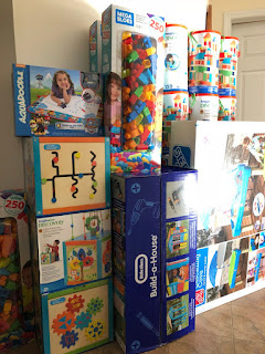 Blocks, playhouse, and other toys purchased for the Child and Family Centre