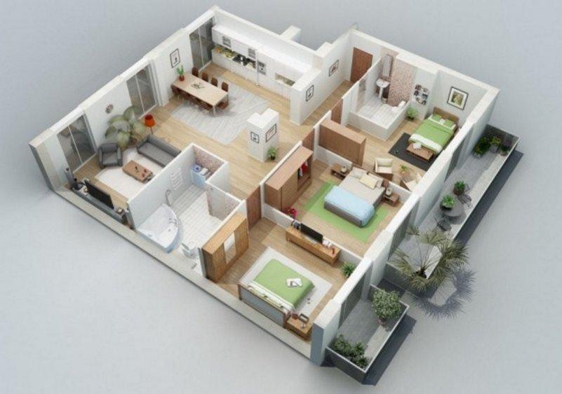 denah rumah 9x12 3 kamar tidur 1