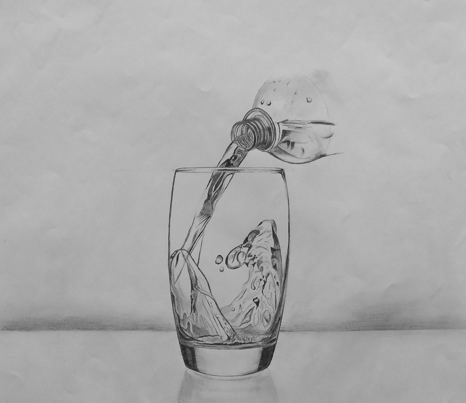 Pencil drawing of water being poured into glass