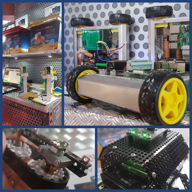 Collage of photos showing Binary Bots electronic vehicles and robots