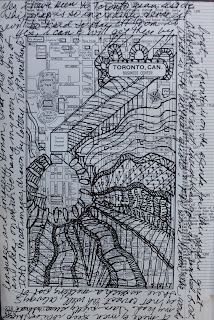 Maps, zen doodle drawing with stream of conscious text.
