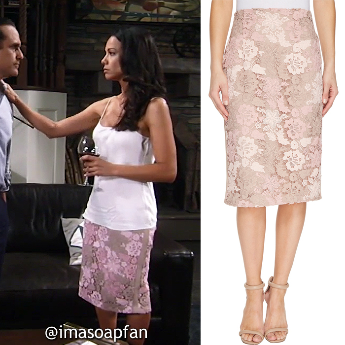 Martina Morales, Daya Vaidya, Pink and Latte Brown Lace Pencil Skirt, Calvin Klein, GH, General Hospital, Season 55, Episode 05/19/17