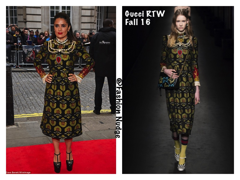 07c62b974d4 Style Lust - Salma Hayek lovely in Gucci Printed Midi Dress - UK premiere  of Tale of Tales in Mayfair