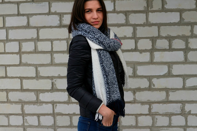 Куртка DressLily Stand Neck Puffer Jacket, шерстяной шарф DressLily Tassel Woolen Yarn Scarf