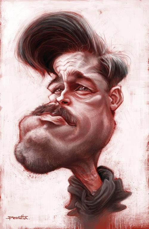 "Caricatura de ""Brad Pitt"" por Mario Perrotta"