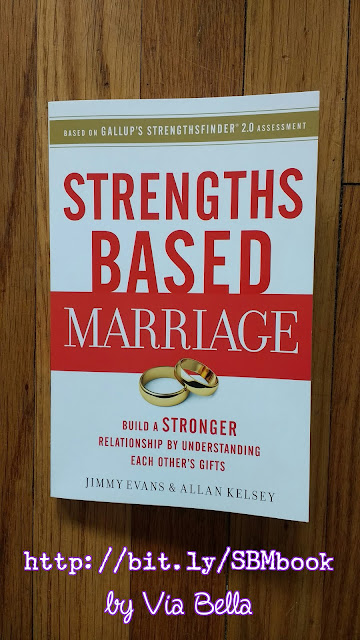 Strengths Based Marriage, book review, gallup strength finder 2.0 assessment, self help, marriage, understanding your gifts, jimmy evans, allan kelsey, thomas nelson, via bella