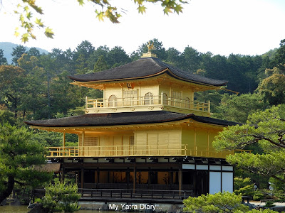 A close view - the Kinkaku-ji or the Golden pavillion, Kyoto in Japan