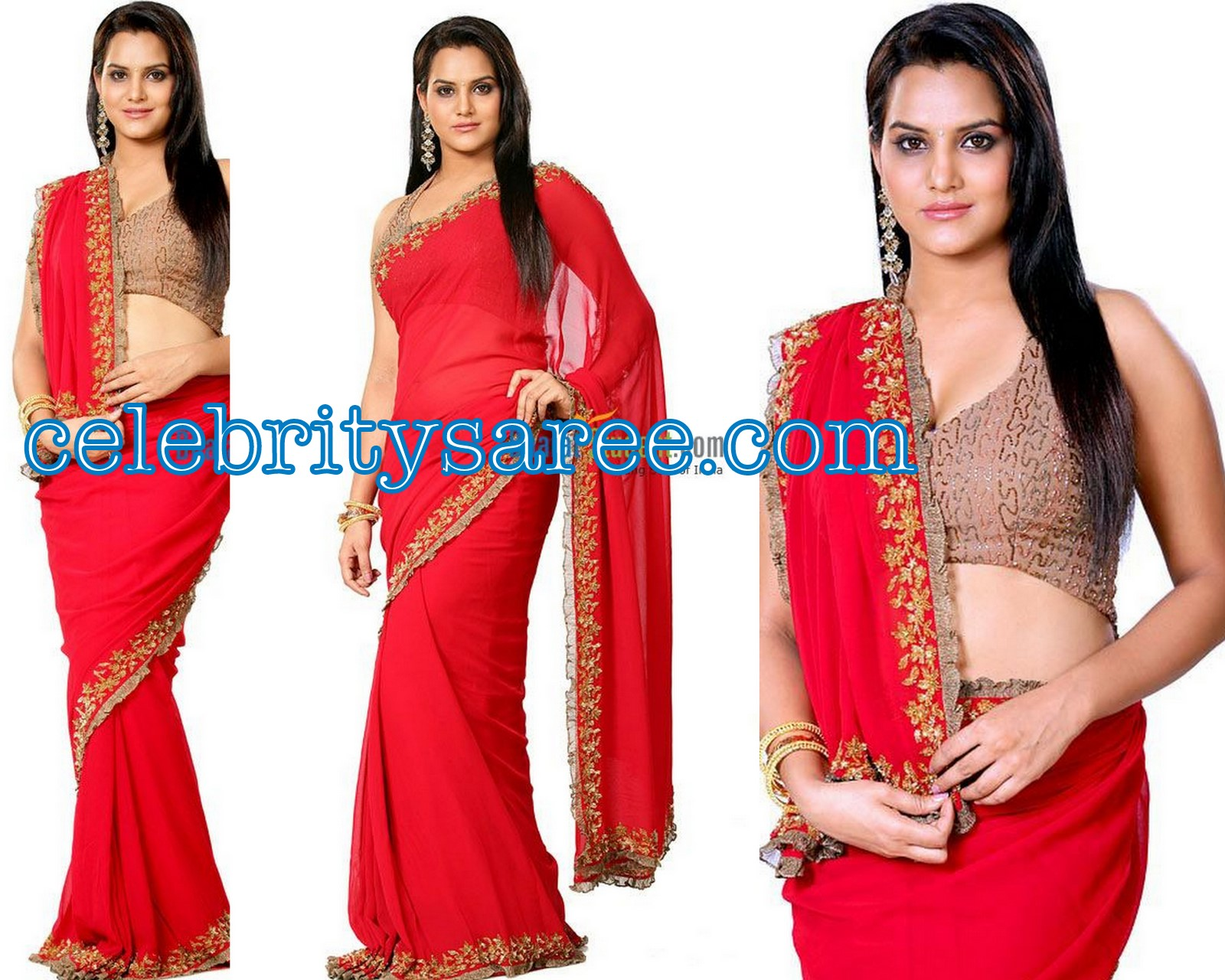 e2e107ef00ac4c Bollywood Celebrity Madhavy in Red Color Georgette Saree with Gold Work  Embroidery