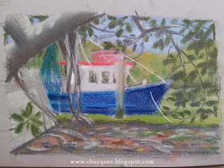 en plein air pastel drawing by illustrator Christian Bocquee of a fishing boat in a mangrove creek