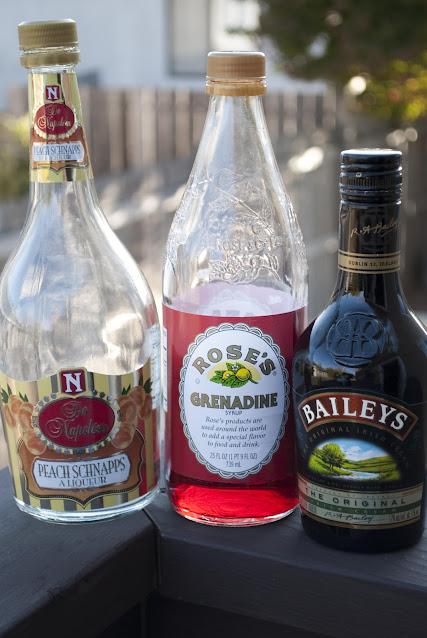 Halloween cocktail, shot, peach schnapps, Baileys, Irish Cream, grenadine, Brain Hemorrhage shot