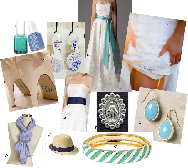 Something blue, wedding inspiration board, blue wedding inspiration, something blue wedding inspiration, essie turquoise and caicos, essie lapis of luxury, blue wedding sash, blue fedora, blue bangle, blue drop earrings, creative something blue, something blue ideas, blue miraculous medal, Catholic wedding planning, Catholic wedding blog, Catholic brides