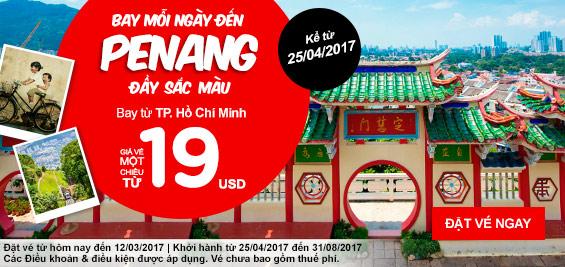 vé khuyến mãi Air Asia ngày 06/03/2017 đi Penang