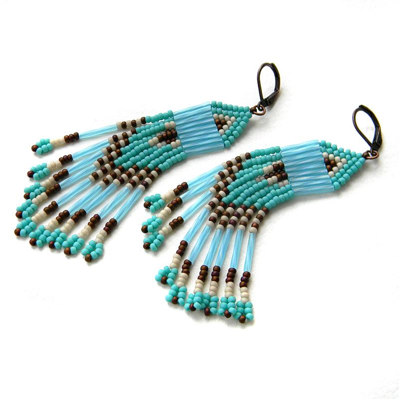 turquoise seed bead earrings beadwork jewelry fringe earrings