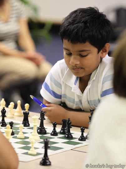 Sravan Renjith, Auckland, competing at The 4th Hawke's Bay Rapid, aka the Hawke's Bay Open, run by the Hawke's Bay Chess Club, at Napier War Memorial Conference Centre, Napier. photograph