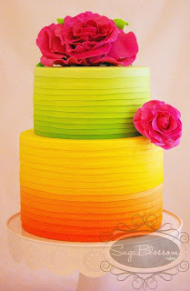 image bright ombre cake green orange yellow roses