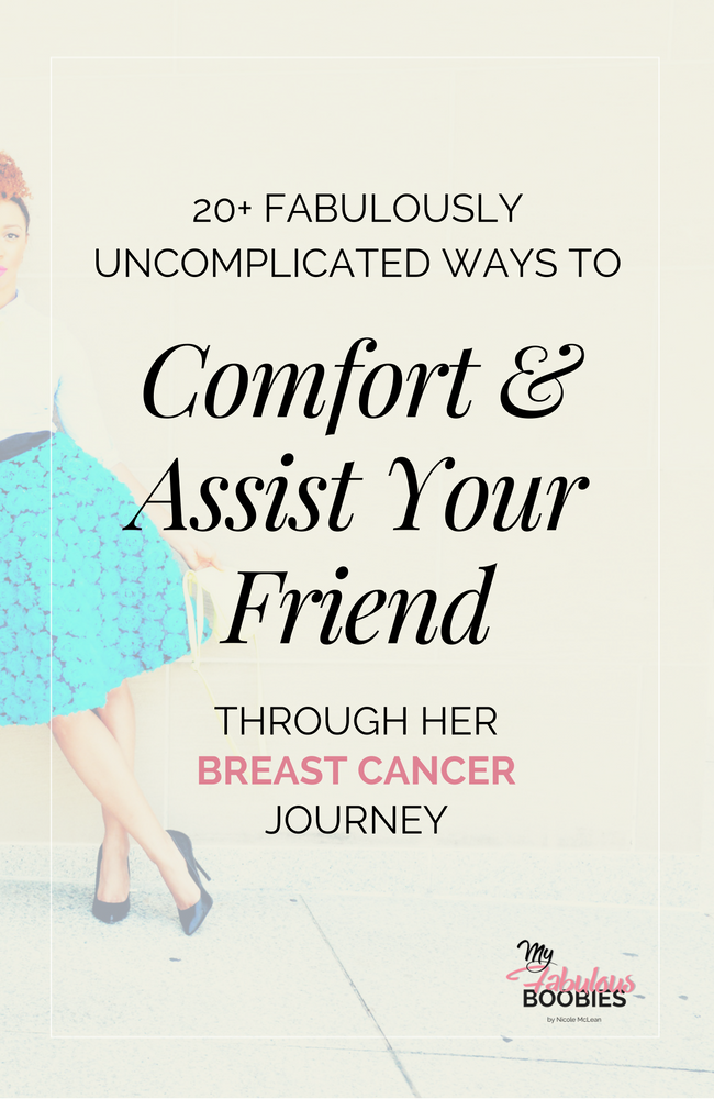 20+ Ways To Comfort A Breast Cancer Survivor | My Fabulous Boobies [black woman in a blue floral skirt, white shirt and black heels leaning to the left]