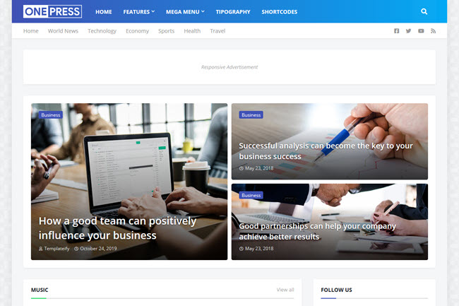 OnePress Blogger Template Premium Free Download