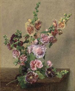 Les fleurs roses d' Henri Fantin-Latour : Roses trémières (1889)