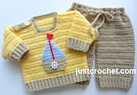 Crochet Sweater and Pants with Boat Applique