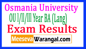 Osmania University OU l/ll/lll Year BA (Lang) Exam Results