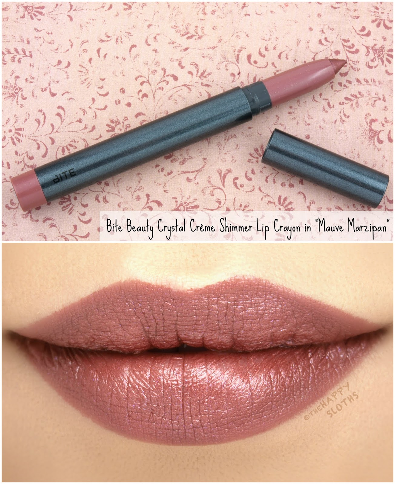 "Bite Beauty | Crystal Crème Shimmer Lip Crayon in ""Mauve Marzipan"": Review and Swatches"