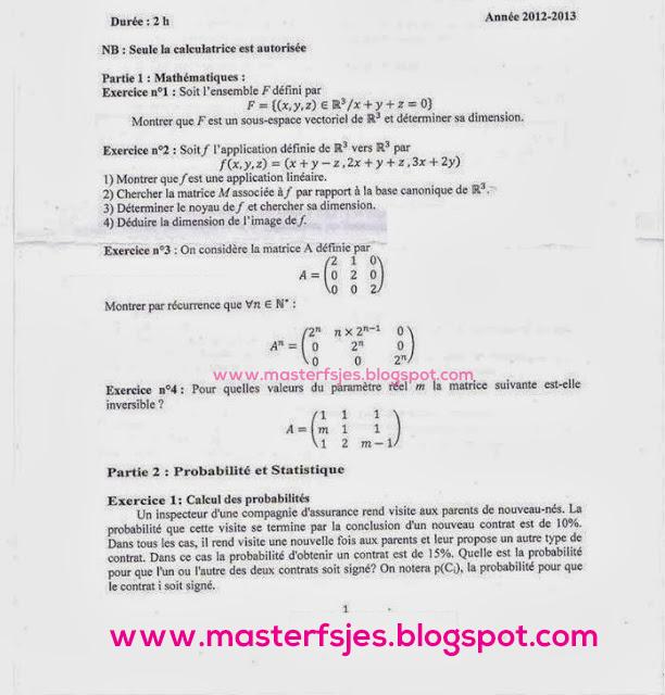 Concours d'accès au Master Gestion des Risques Financiers et Assurantiels (GRFA) 2012-2013